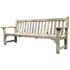 Weathered Teak Classic Long Slat Back Garden Bench