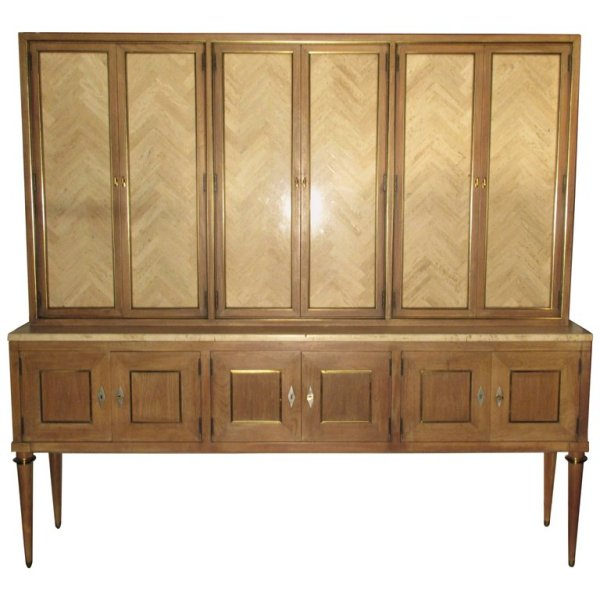Travertine Marble Mounted Cerused Sideboard Cabinet