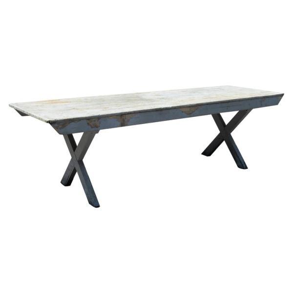 Old Gray Weathered X Base Folding Farm Grange Table