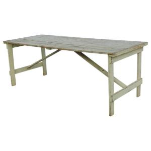 Pale Yellow Painted Folding Farm Table