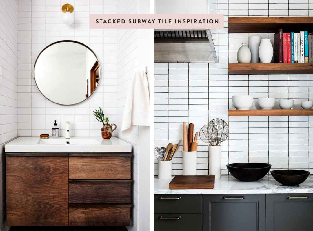 Stacked bond subway tile inspiration