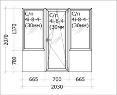 Цена - 760$ - Дверь на балкон с двумя окнами