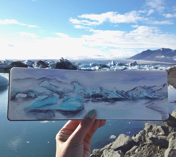 Iceland-Glacier-Watercolour-Painting-with-Iceberg-Melt-Paint
