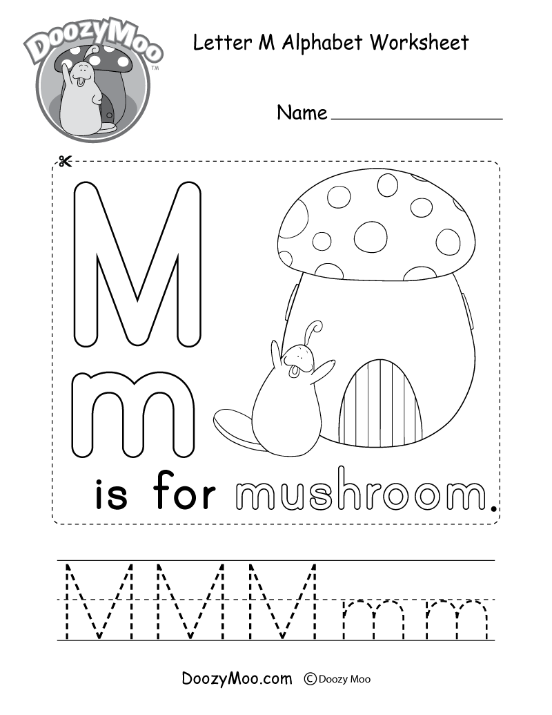 Cute Uppercase Letter M Coloring Page Free Printable Doozy Moo