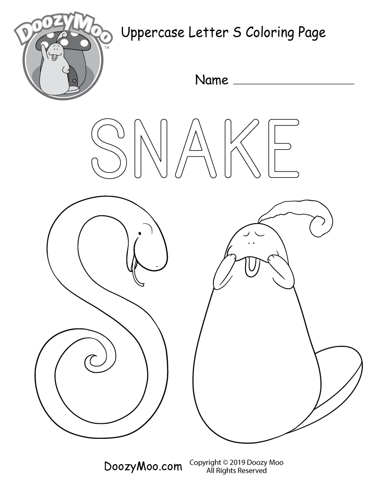 Cute Uppercase Letter S Coloring Page Free Printable Doozy Moo