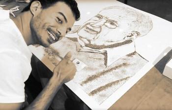 "Israeli Artist, Roy Znaty ""Draws"" Herbal Portrait of Prof. Raphael Mechoulam, The ""Father of Cannabis"" 3"