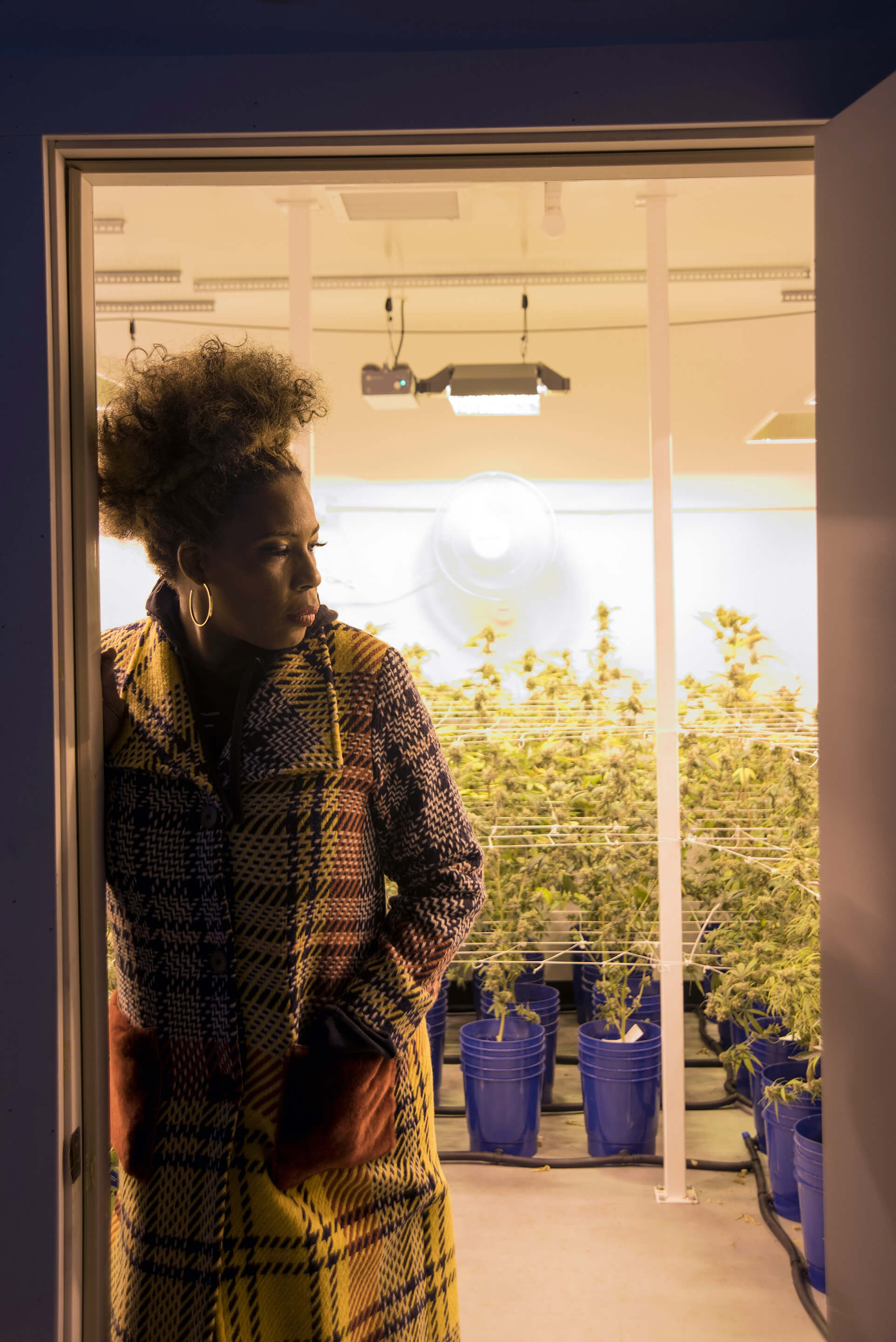 Macy Gray exploring the cannabis plants at Cannabal City in Los Angeles' Arts District...