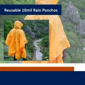 Sara Glove Adult 10 Mil Reusable Rain Ponchos (Sold in Packs of 1, 6, 12 & 48)