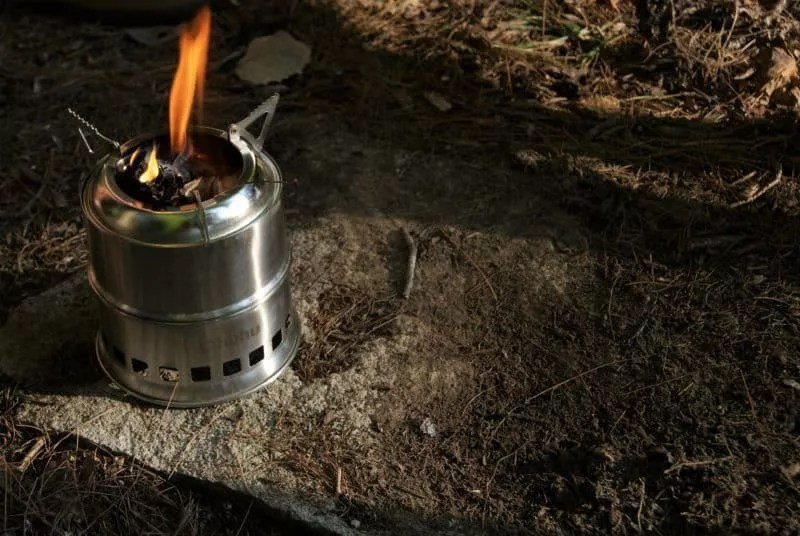 Portable Collapsible Wood Stove Burner Open Mouth Design Backpack Camping Stove