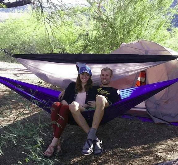 Maria and brooks on a hammock secured with The Proventure Straps