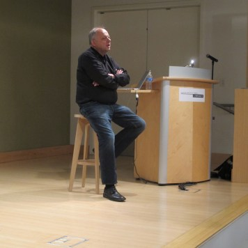 Christopher Long at a book signing and lecture event Santa Monica Public Library hosted by the Society of Architectural Scholars.
