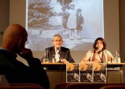 Charles Paterson and Carrie Paterson at a book presentation for Escape Home Literaturhaus Wien. Photo Philipp Heinz.