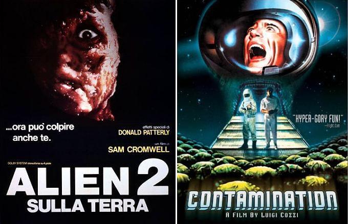 Locandine di Alien 2 sulla terra e Contamination, alien arriva sulla terra