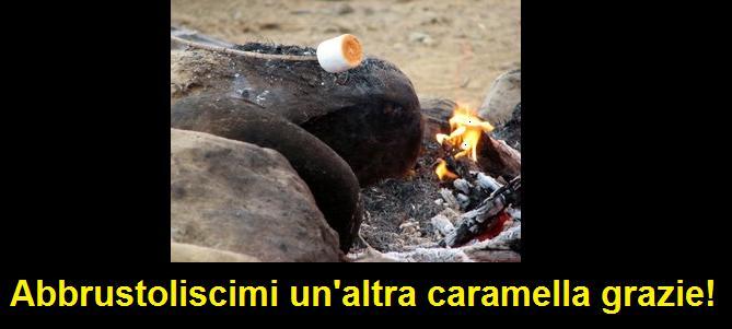 Marshmallow abbrustoliti sul fuoco del campeggio, chiamati gnocchi di lichene nel film Ghostbusters