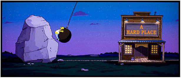 Simpson il film, Homer tra una roccia e a hard place