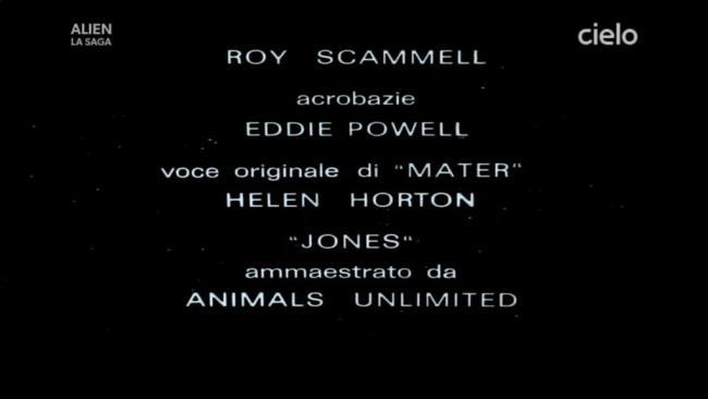 Titoli di coda di Alien 1979 dove il computer viene chiamato Mater