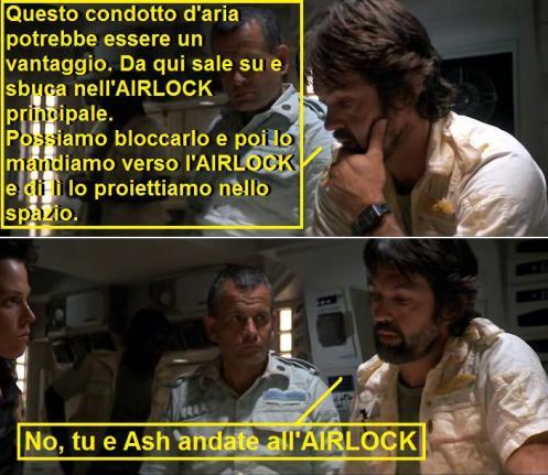 Vignetta con scene dal film Alien (1979) dove la parola airlock viene lasciata in inglese
