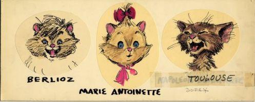 Concept art per i gatti del film Gli Aristogatti