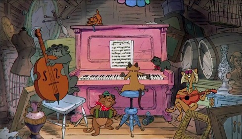 """Gatti che suonano e cantano """"Tutti quanti voglion fare il jazz"""" nel film Gli Aristogatti"""