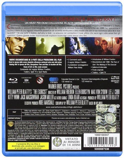 Retro della copertina Blu Ray del film l'Esorcista