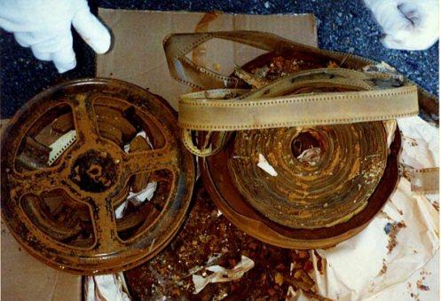 Foto di una pellicola cinematografica deteriorata