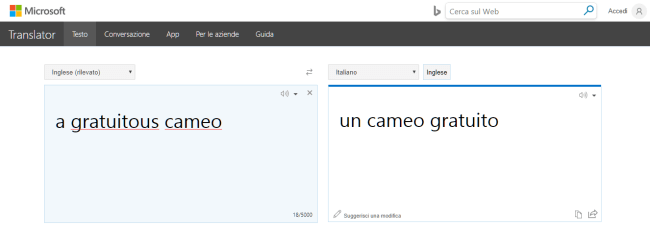 Screenshot di traduzione automatica di Bing per la frase: some douchebag's film che diventa qualche film douchebag