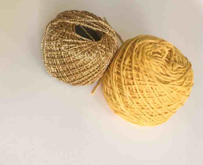gold and yellow crochet thread