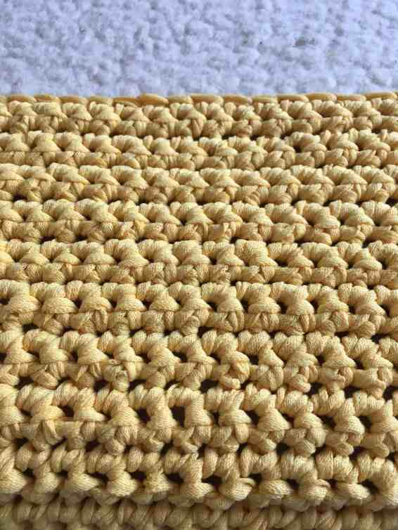 using single crochet to cover a footstool