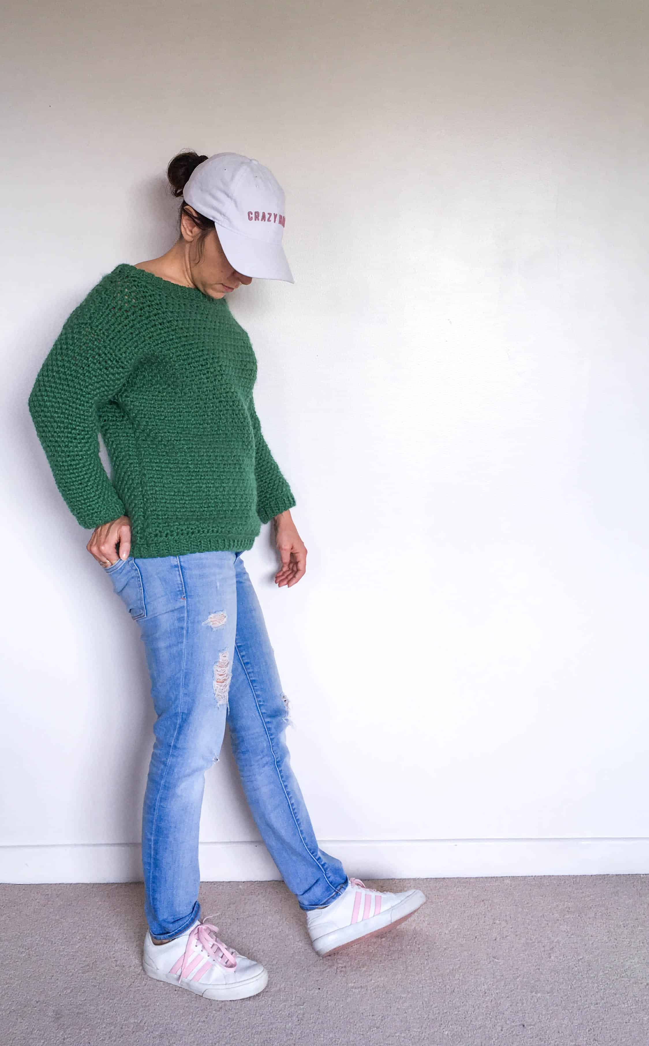 off-the-shoulder retro Crochet Sweater Pattern inspired by stranger things