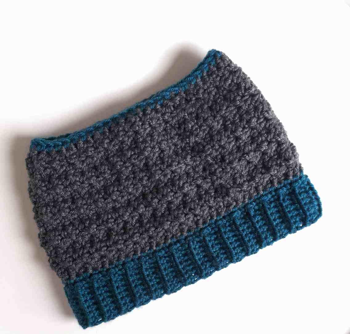crochet textured messy bun hat ribbed brim