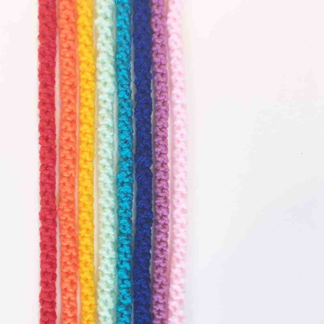 crochet cords rainbow colours