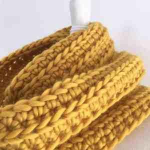mustard crochet infinity chunky merino scarf golden