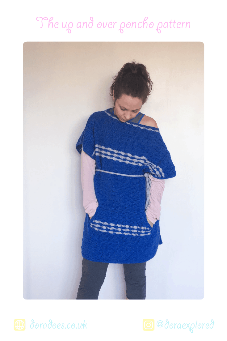easy striped poncho pattern pockets tunic style