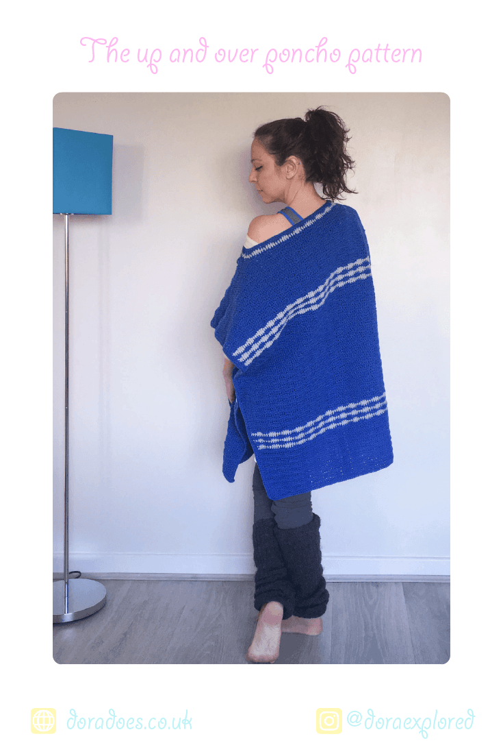 crochet stripes poncho easy stitches pattern kaftan tunic buttons