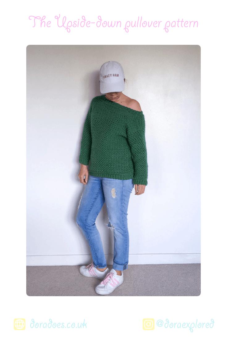 80s moss stitch off the shoulder crochet jumper pattern