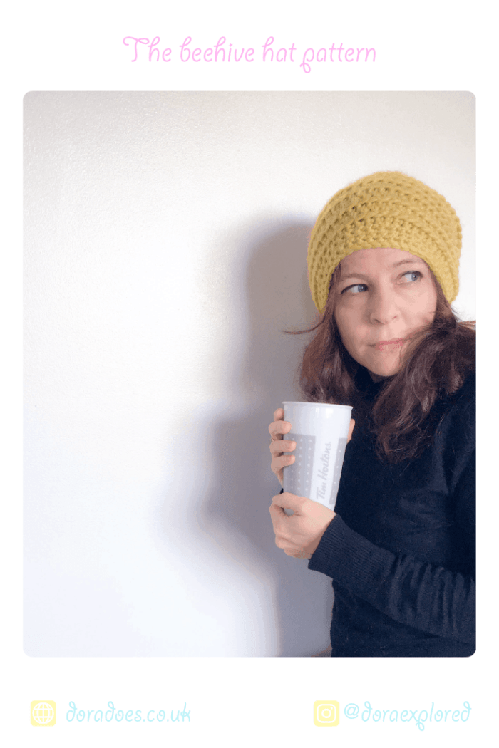 Simple Crochet Beehive beanie hat-easy pattern for beginners