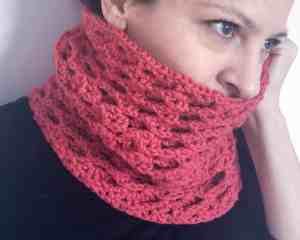 crochet textured cowl connected threads red
