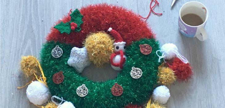Crochet tinsel Christmas wreath