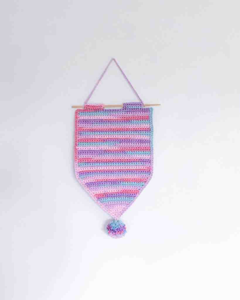 crocheted stripy hanging pin pennant banner for pin and badge display