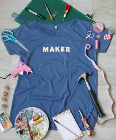 maker t-shirt yellow blue with tools