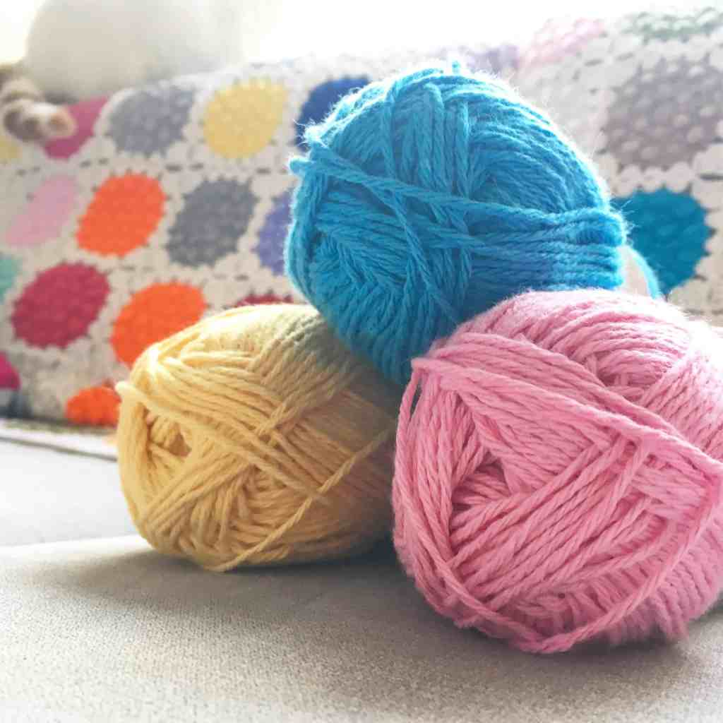 pink blue and yellow cotton crochet yarn