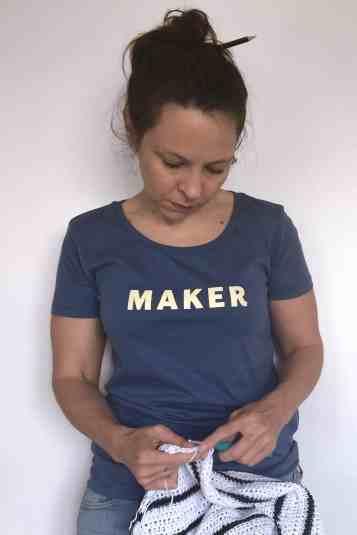 Yellow on blue maker slogan tee crochet