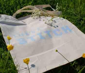 Life's a stitch natural cotton tote slogan bag