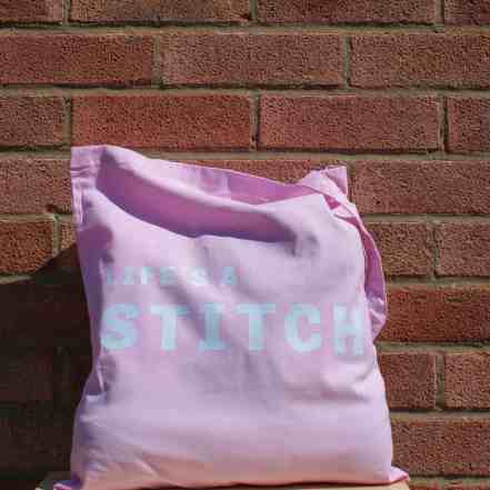 Pink Life's a stitch tote craft project bag