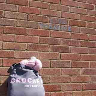 Grey tote bag it's crochet not knitting slogan full of lovely yarn