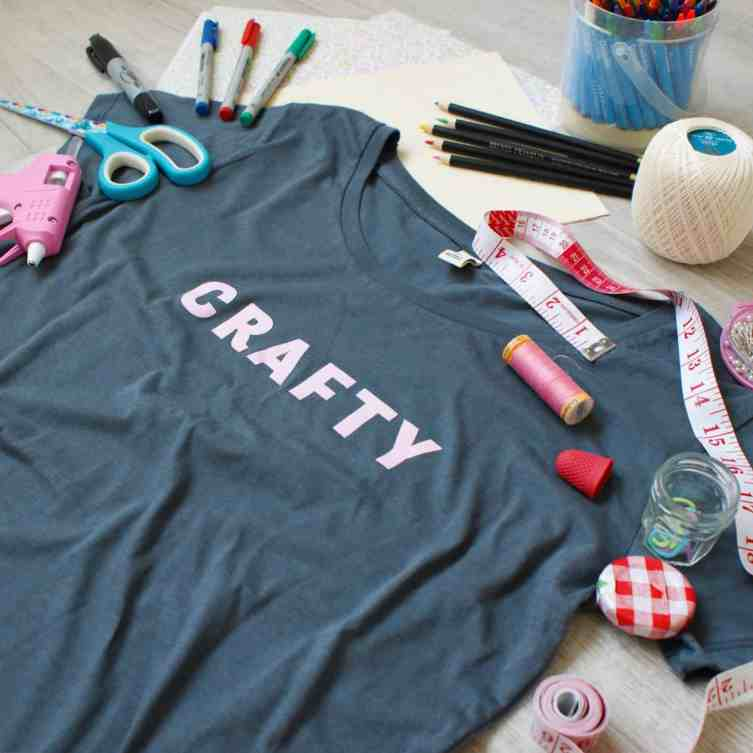 Crafty screen printed grey slogan t-shirt with craft tools