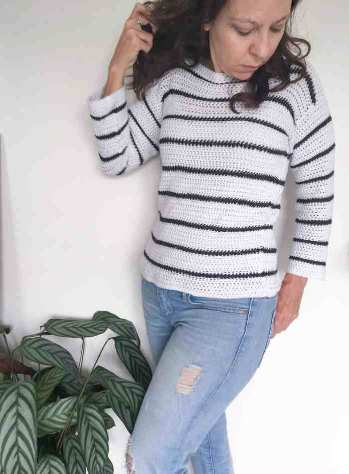 simple white crochet sweater with black stripes