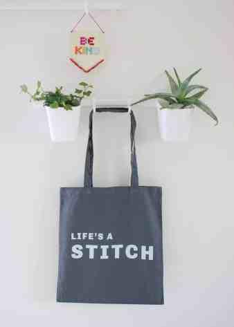 Life's a stitch screenprinted cotton tote