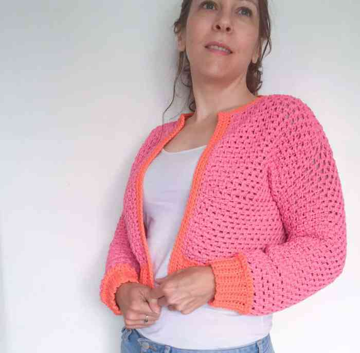 pink and orange crochet cardigan