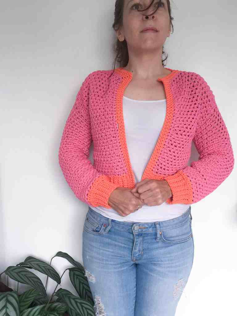 pink and orange crochet bomber cardigan